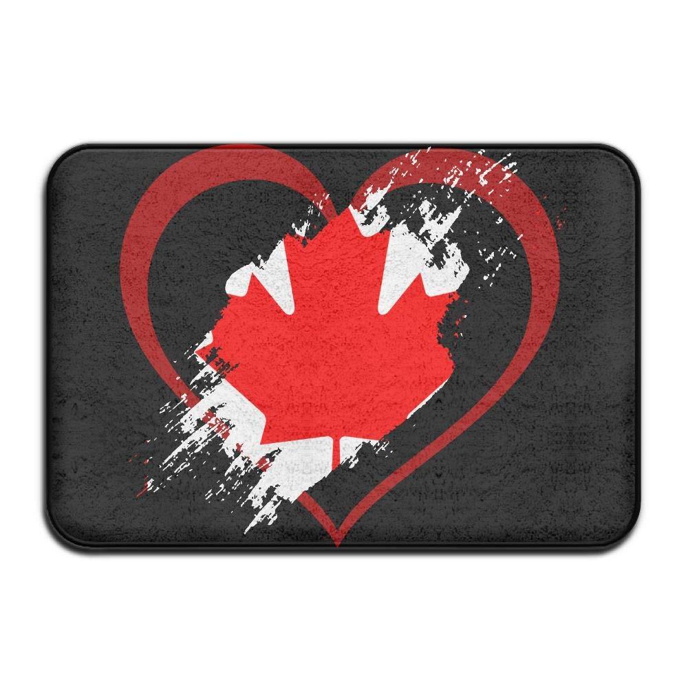 Canada Flag Heart Shape Indoor Outdoor Entrance Rug Non Slip BathMats Doormat Rugs for Home