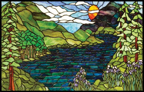 Mountains, River, Trees & Lavender Flowers - Vinyl Stained Glass Film, Static Cling Window Decal (Stained Mountains Glass)
