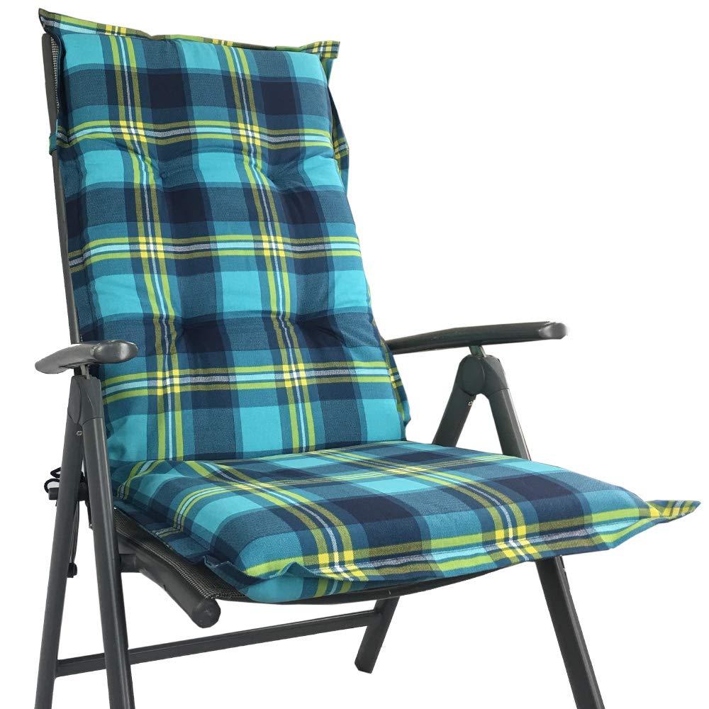Hochlehner Auflage für Gartenstühle 120 x 50 x 8 cm - Premium Stuhlauflage mit Komfortschaumkern und Bezug aus 100% Baumwolle - Sitzauflage Made in EU   ÖkoTex100, Dessin Karo Blau, Anzahl 4er Set