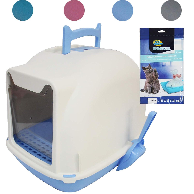 BPS Aseo Cerrado para Gato Arenero Sanitaria Bandeja Arena para Mascotas con Pala y Una Bolsa para Bandja 4 Colores Tamaños M/L (M: 47 * 36 * 37 cm, ...