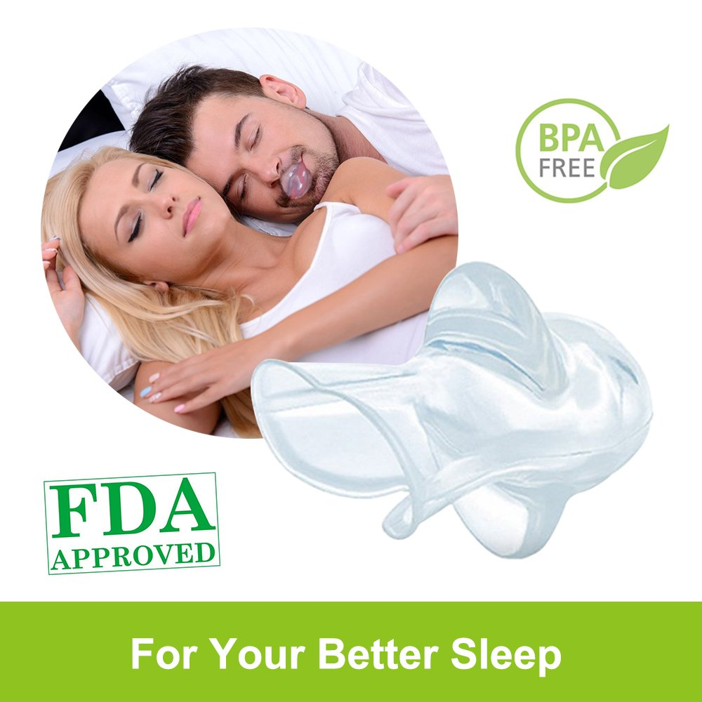Anti Snoring Devices, Tongue Retainer Stop Snoring Solution Sleep Aid Night Snore Stopper Reducing with Case for Natural and Comfortable Sleep Petask
