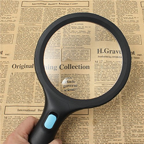 25 Mm Coin Shape (1.8X 5X 138mm Handheld Reading Pocket Magnifying Glass 10 LED Magnifier)