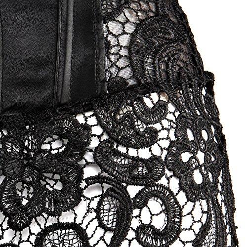 2cb375fedd9 Kranchungel Women s Punk Rock Faux Leather Corset Retro Goth Waist Cincher  Basque Bustier X-Large Black