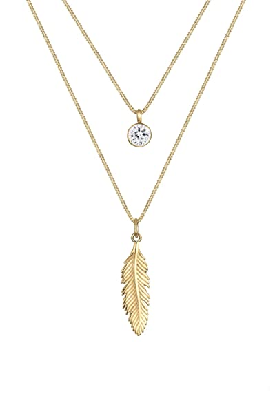 Elli Women Genuine Jewellery Necklaces Pendant Neckwear Feather 925 Sterling Silver Gold Plated Length 45 cm pN2xSpfmg