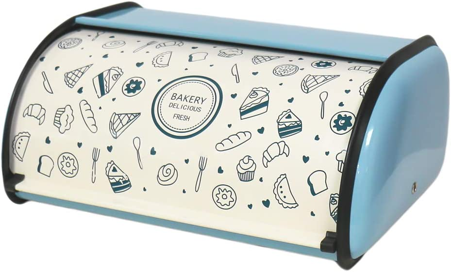 X459S Metal Bread Box/Bin/kitchen Storage Containers/Home KitChen Gifts with Roll Top Lid (Blue)