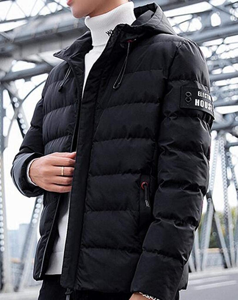 MOUTEN Mens Winter Thicken Zip Front Loose Hoodie Down Quilted Coat Jacket Outerwear