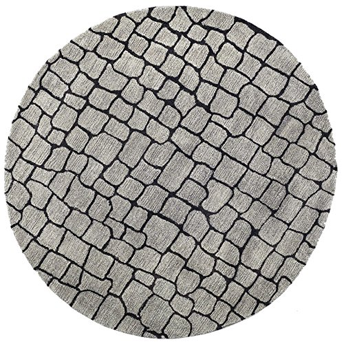 Safavieh Soho Collection SOH431A Handmade Silver and Grey Premium Wool Round Area Rug (6' Diameter) ()