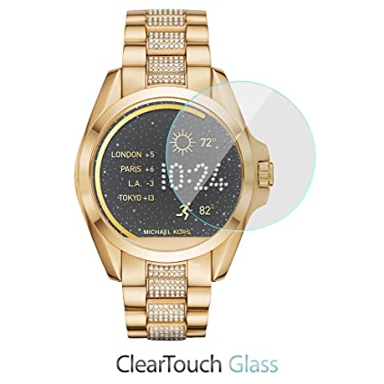 Michael Kors Access Bradshaw Screen Protector, BoxWave [ClearTouch Glass] 9H Tempered Glass Screen Protection for Michael Kors Access Bradshaw