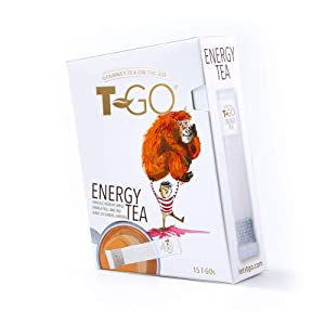 T-Go Energy, On-The-Go Tea, Convenient, Boost Mood and Improve Energy Anywhere with Natural Herbal Ingredients, 15 Count (Pack of 1)