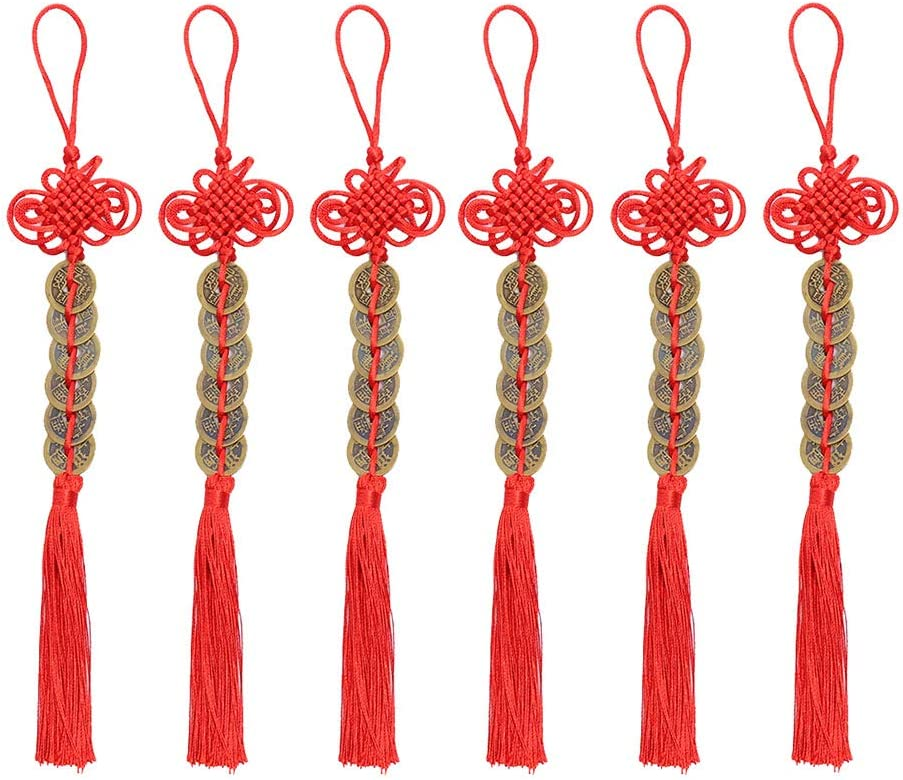 ISKYBOB Set of 6 I-Ching Feng Shui Coins with Red Chinese Knot String Vintage Lucky Coin Wealth Charm Home Car Decoration