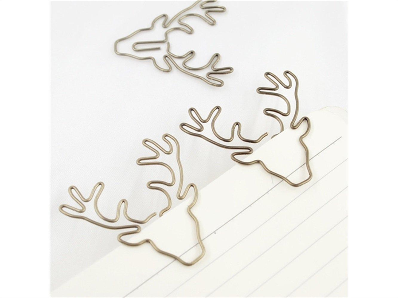 Zhisan Unique Colour 8 Pcs Animal Deer Shape Paper Clip Metal Card File Clip for Office School Stationery Supplies