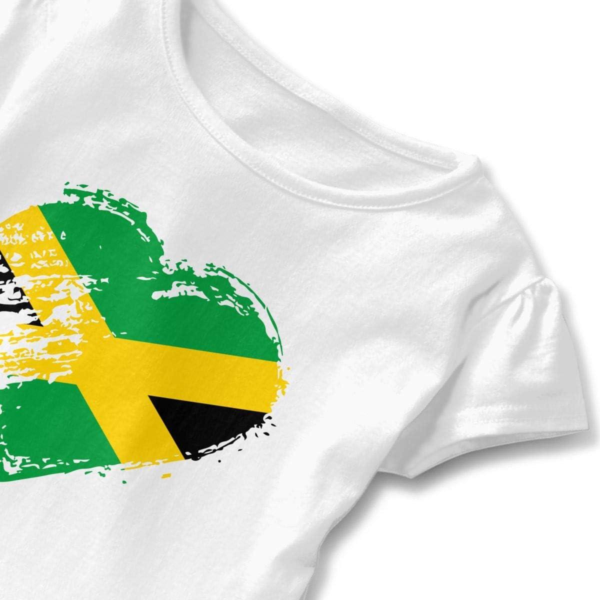 I Love Jamaica Heart Flag Toddler Girls Short Sleeve Peplum Tops