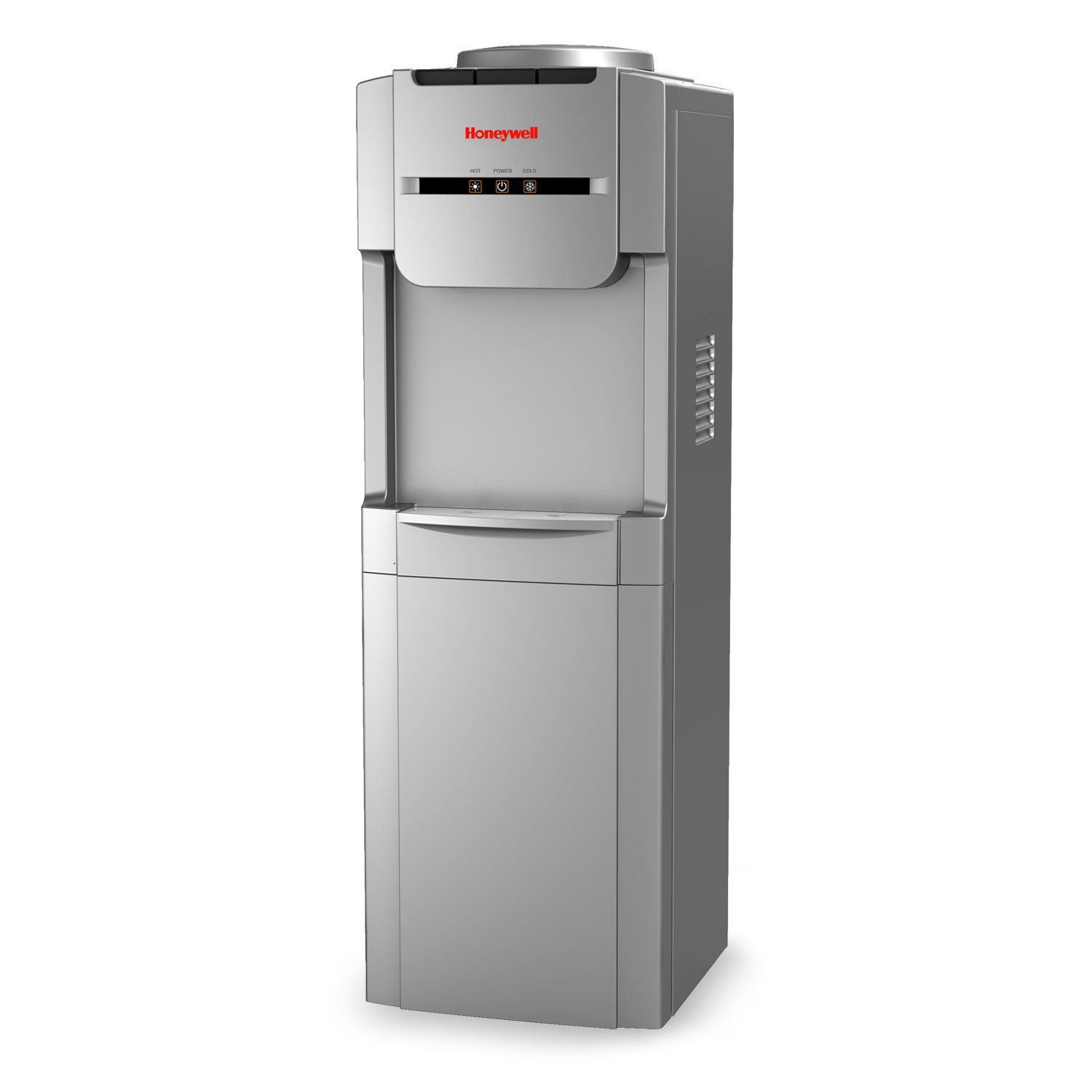 Honeywell HWB1073S 38-Inch Freestanding Hot, Room and Cold Water Dispenser with Stainless Steel Tank to help improve water taste, Back Handle for EASIER HANDLING and Thermostat Control, Silver by Honeywell