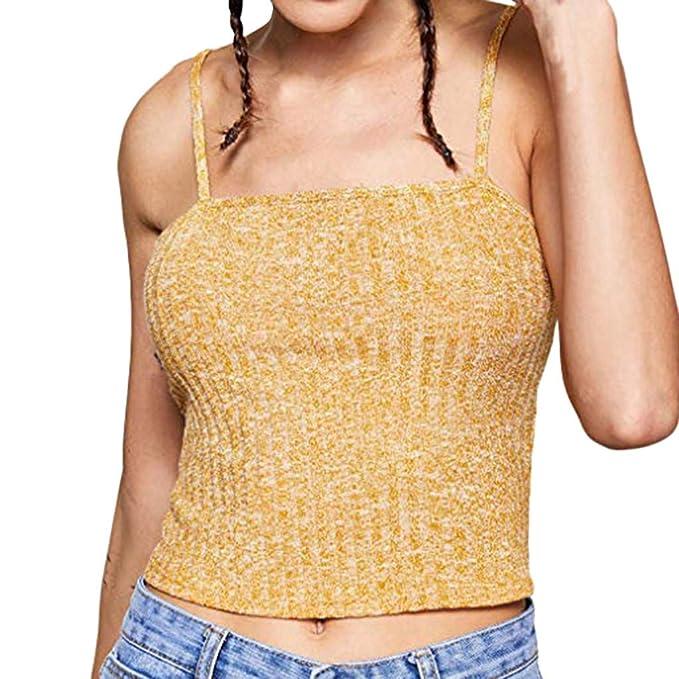 Beikoard Camisola de Las Mujeres,Sin Mangas Collar de Una Palabra Prendas de Punto Color Sólido Camisa de Verano,Sexy Off Shoulder,Párrafo Corto Slim Fit ...