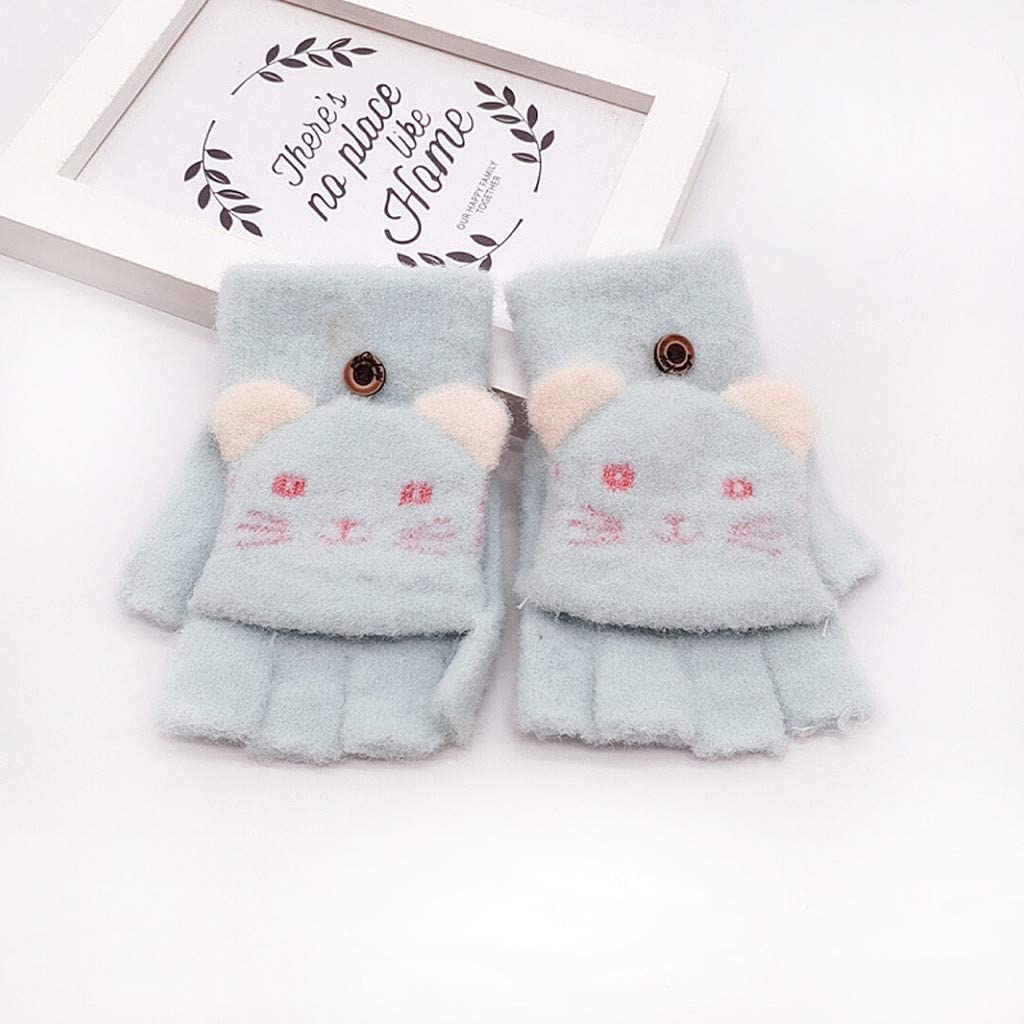 Children Baby Kids Boys Girls Flip Top Knitted Gloves Winter Warm Thick Cartoon Cat Print Light Soft Mittens for 3-6 Yrs