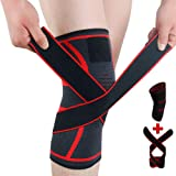 Knee Brace Support Adjustable Compression Sleeve Wraps Pads New Generation Knee Protector for Single Pack Red, Large