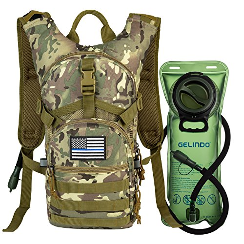Gelindo Military Tactical Hydration Backpack with 2L Water Bladder Light Weight MOLLE Tactical Assault Pack for Hiking Biking Running Walking Climbing Outdoor Travel(CP-Tan)