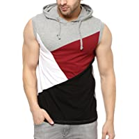 GRITSTONES Stylish Grey Melange/Black Cotton Hooded Solid Vest