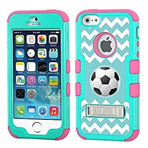 One Tough Shield ? 3-Layer Hybrid Case (Teal Green / Pink) for Apple iPhone 5 5s - (Chevron/Teal/Soccer) wangjiang maoyi