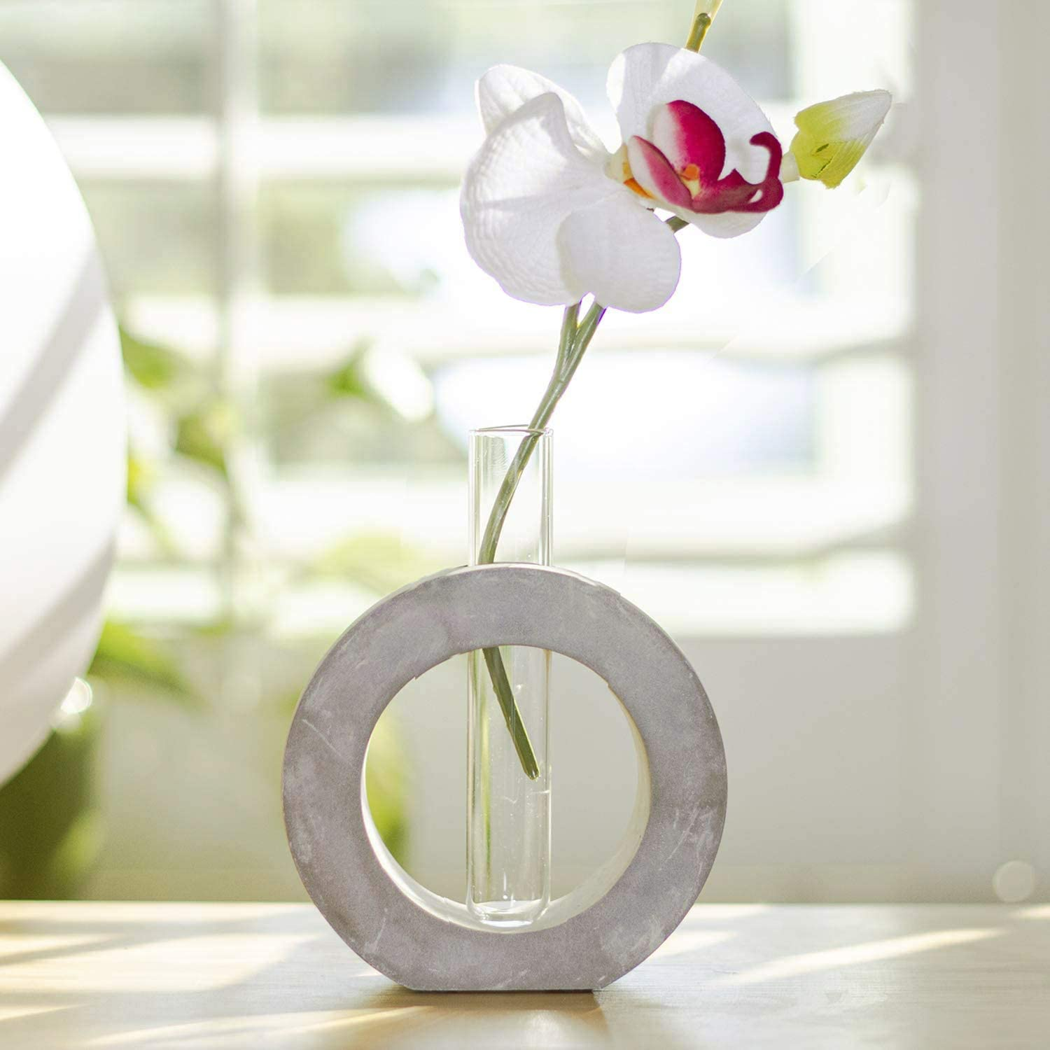 Ebros Gift Frank Lloyd Wright Contemporary Organic Geometric Shape Elements Polished Concrete Cement Floral Bud Vase As Mantelpiece Shelf Table Decorative Accent Sculpture 3d Circle Small 4 D Home Kitchen