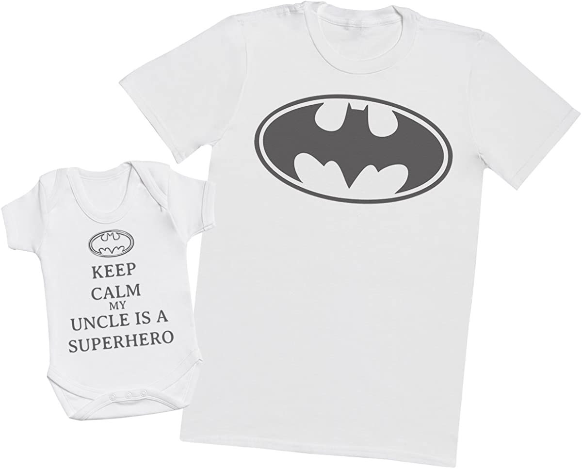 Herren T-Shirt /& Baby Strampler Passende Onkel Baby Geschenk-Set Keep Calm My Uncle is A Superhero M /& 6-12 Monate