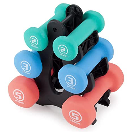 4d8c63dee90 Set of 3 Pairs of Neoprene Body Sculpting Hand Weights with Stand by Crown  Sporting Goods