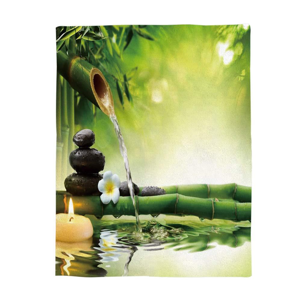 WAZZIT Spa Decor Flannel Throw Blanket 60x80 inch Lightweight Plush Microfiber Fleece Comfy Gift Blankets for Bed Couch, Zen Garden Theme Jasmine Flower Bamboos