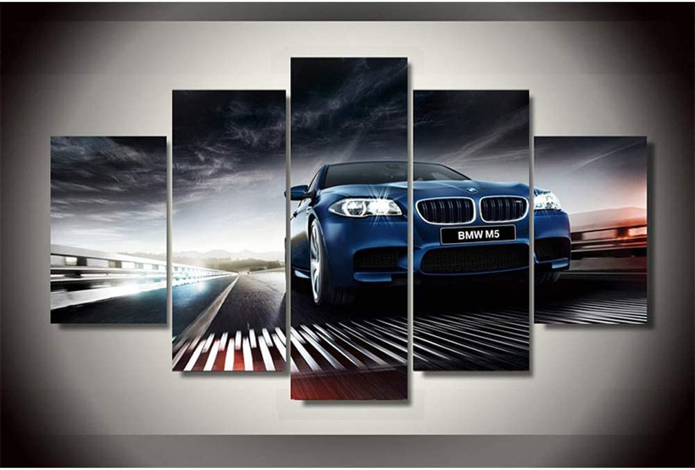 PEACOCK JEWELS Premium Quality Canvas Printed Wall Art Poster 5 Pieces / 5 Panels Wall Decor BMW m5 f10 Sedan Painting, Home Decor Pictures - Stretched
