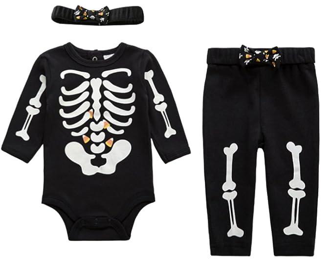lukycild bebé niña Pelele de esqueleto + pantalones + diadema ropa Set: Amazon.es: Ropa y accesorios