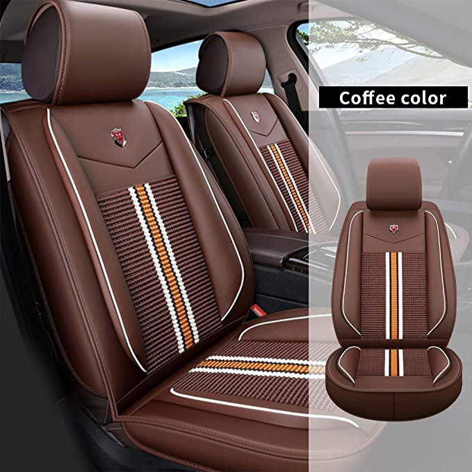 All Weather Custom Fit Seat Covers for Lincoln MKC MKZ MKX 5-Seat Full Protection Waterproof Car Seat Covers Ultra Comfort with Headrest and Lumbar Cushion Luxury Package Beige Full Set