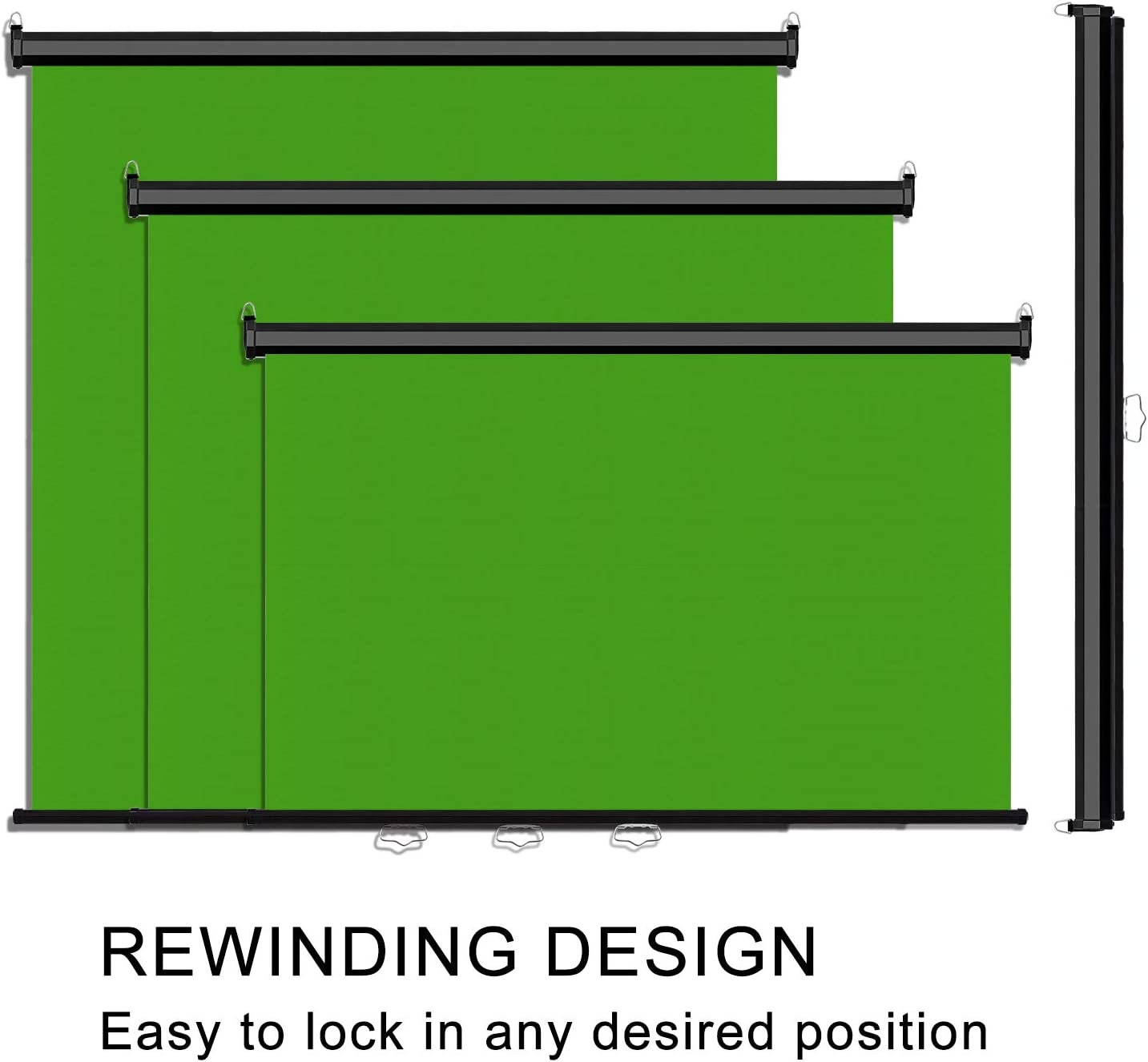 Wrinkle-Resistant Mountable Chroma Key Panel Removal Backdrop Background Fabric for VR Emart 75 x 79 Pull Down Green Screen