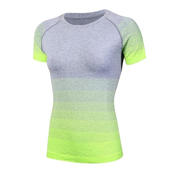 ZKOO Mujeres Ejercicio Fitness Y Compresión Manga Corta Camiseta para Yoga Ejecutando Deportes Secado Rapido De Manga Corta
