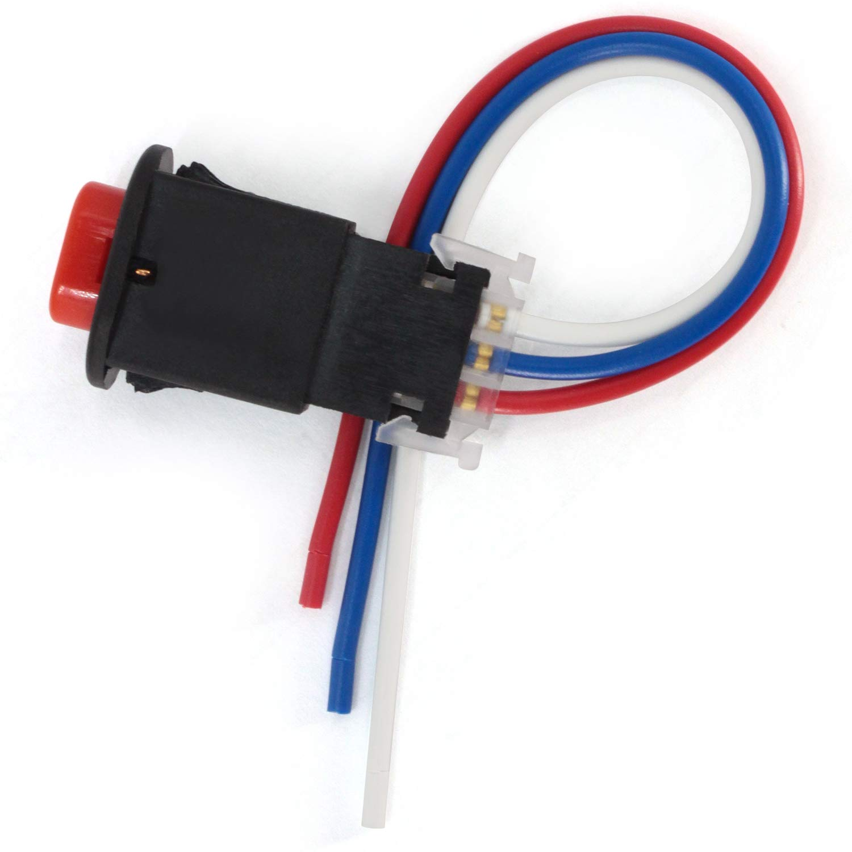 2Pcs Motocicleta Peligro Interruptor,12V//24V Interruptor de la Motocicleta Bot/ón luz Se/ñal de Emergencia Intermitente de Advertencia Doble con 3 alambres