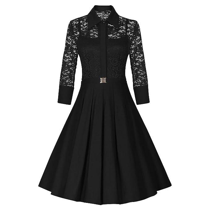 Dolamen Mujer Encaje Vestidos, Vintage cuadrado del collar y estilo retro, una línea colgante