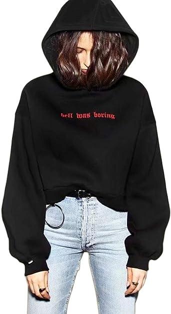 Image ofCrop Sudaderas con Capucha Mujer Invierno Vintage Negra Rojo Corta Hoodie Suéter Jersey Ropa