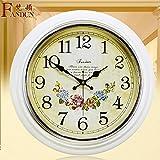 European Creative Mute The Large Antique Wall Clock Design Minimalist Modern Quartz Watches,16 Inch,White Crown