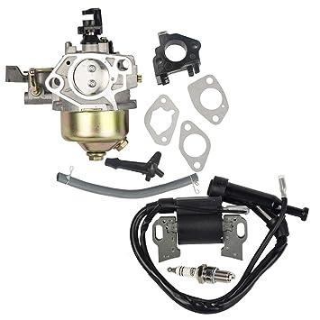 OuyFilters - Pack de carburador con bujía de Encendido para Honda Gx340 Gx390 11hp 13hp Motor cortacésped: Amazon.es: Jardín