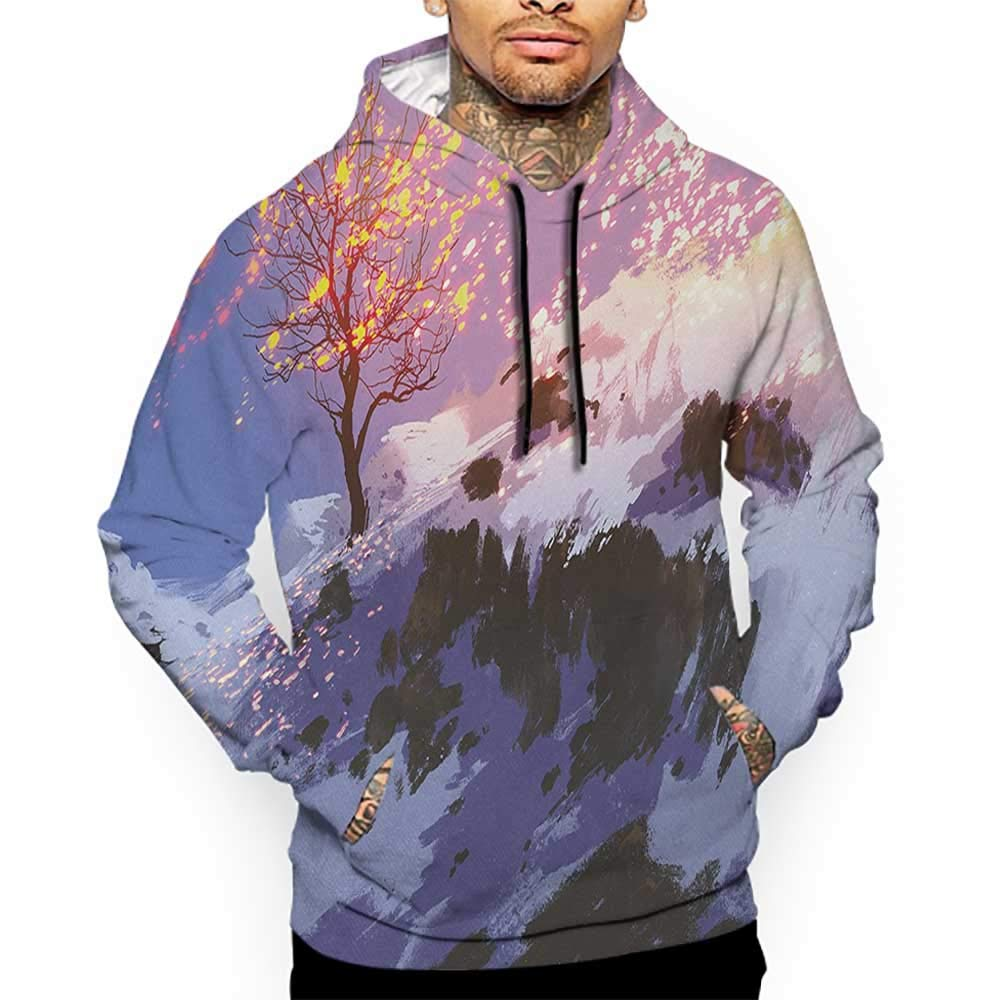 Unisex 3D Novelty Hoodies Fantasy,Magical Landscape with Showing Bare Tree in Idyllic Winter Valley with Snow Print,Multicolor Sweatshirts for Women Plus Size