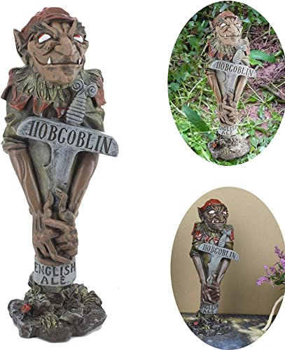 Mascarello Garden Gnome Statue Collection, 10.25 Inch, Polyresin Yard Sculpture Wicked Wizard Hobgoblin Figurine Outdoor Lawn Decor