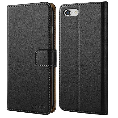 HOOMIL Case Compatible with iPhone 8 and iPhone 7, Premium Leather Flip Wallet Phone Case for Apple iPhone 8 / iPhone 7 Cover – Black (4.7-inch)
