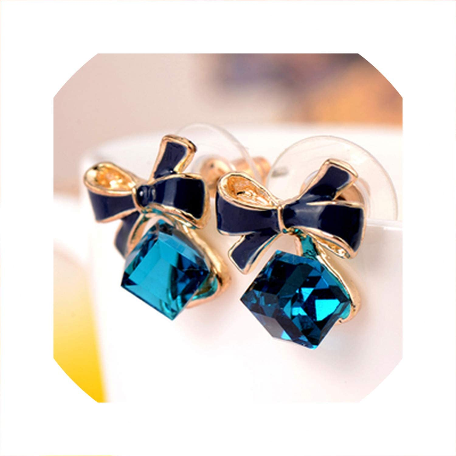 Bowknot Chic Colorful Stud Fashion Jewelry Crystal Women Bowknot Earrings
