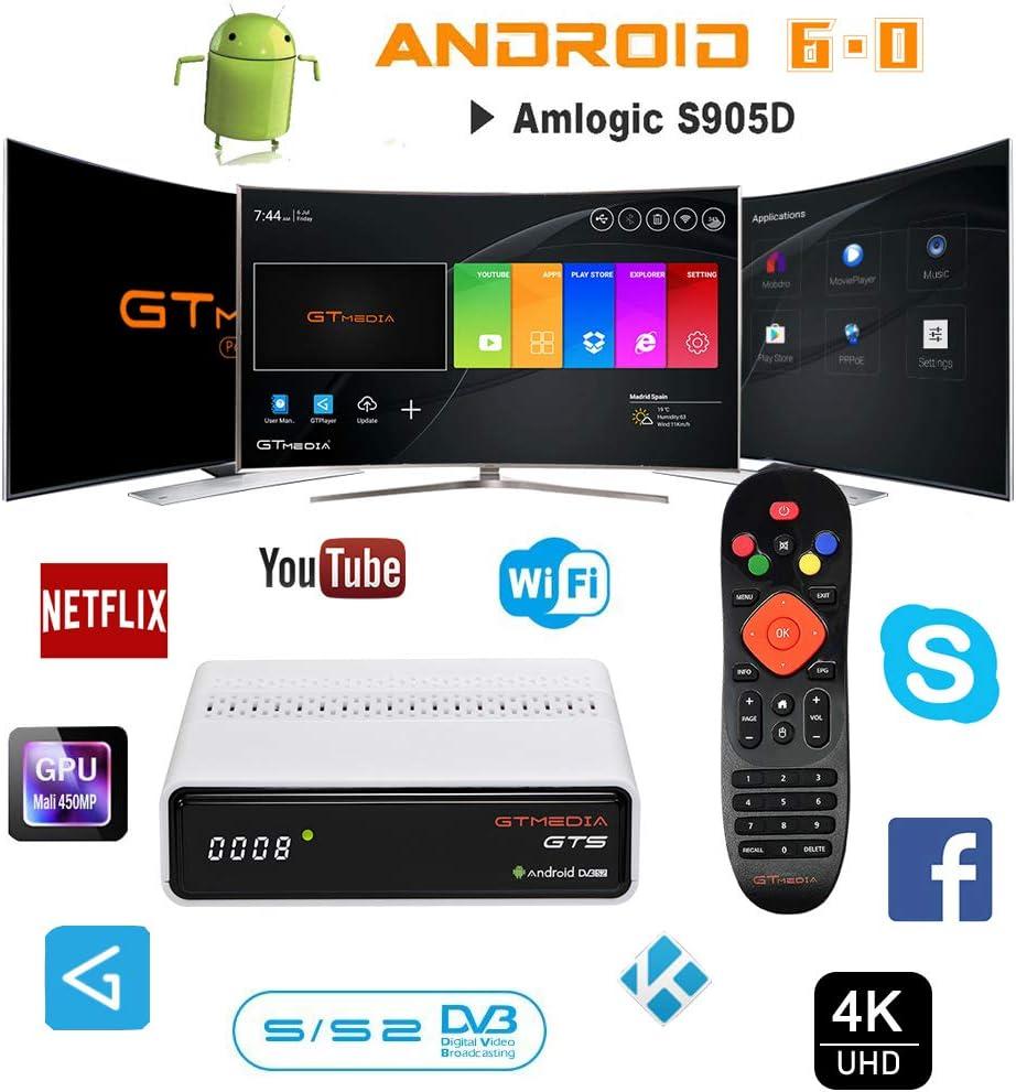 GT MEDIA GTS Decodificador Satelite 4K Android 6.0 TV Box Receptor de Satélite DVB-S/S2 Amlogic S905D 2GB RAM+8GB ROM 3D H.265 HEVC MPEG-2/4 WiFi ...