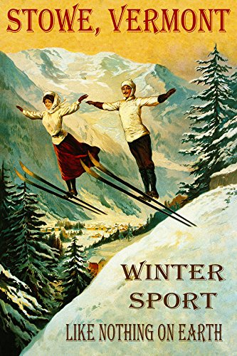 "STOWE VERMONT COUPLE SKI JUMPING WINTER SPORT SKIING LIKE NOTHING ON EARTH 32"" X 48"" VINTAGE POSTER REPRO MATTE PAPER WE HAVE OTHER SIZES"