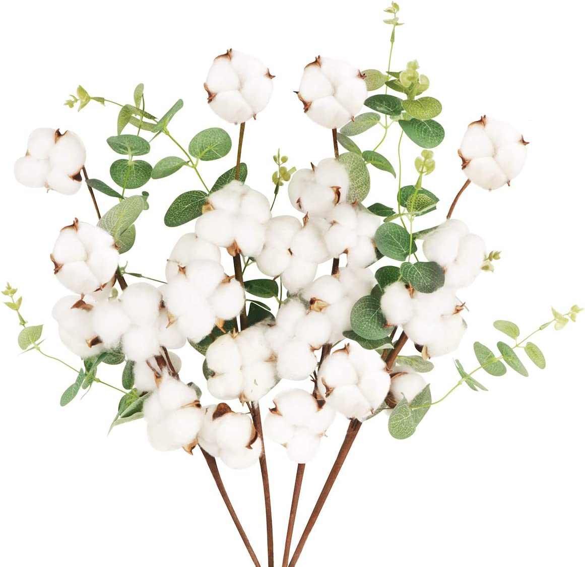 """4 Packs Cotton Stems Decor,Faux Dried Cotton Branches with Eucalyptus Leaves,Tall Artificial Cotton Flowers Decoration for Farmhouse Vase Fillers Table Centerpieces Rustic Country Decor,25.6"""""""