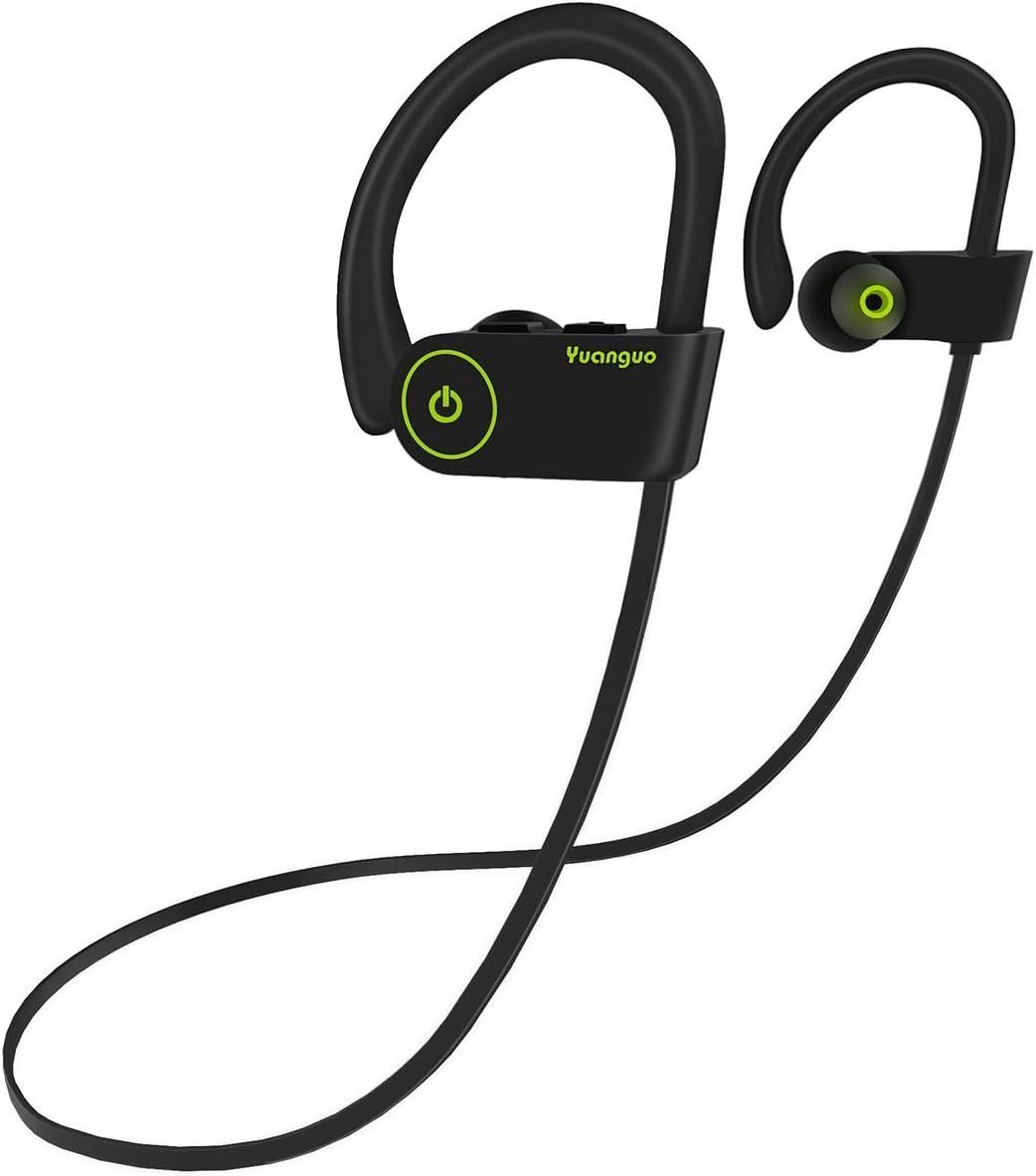 Auriculares Bluetooth V4.2 Yuanguo Auriculares V4.2 Inálambricos Cascos Deportivos In Ear IPX7 Impermeable Sonido Estéreo con Micrófono Cancelación de Ruido CVC 6.0 & Tecnología APTX para Correr