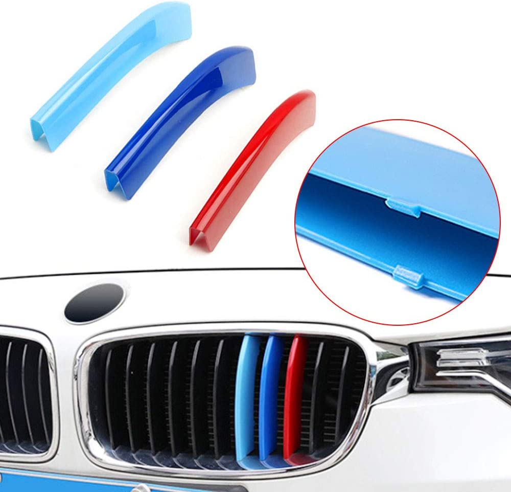 14 Grilles Longzhimei Fit for BMW 3 series E92 E93 318i 320i 325i 328i 330i 335i 320d 325d 2006-2009 M-Colored Front Grille Insert Trim Strips Grill Cover 3Pcs