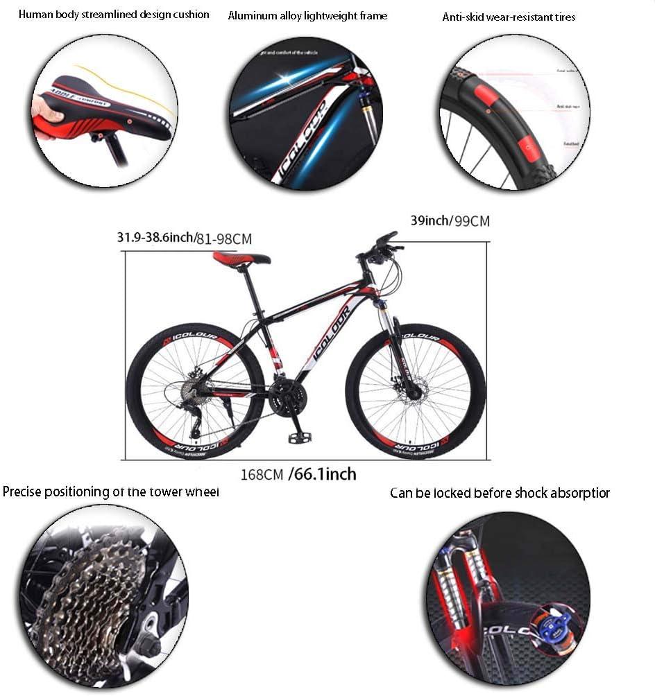 AISHFP 26 Pulgadas de Bicicletas de montaña, Doble Freno de Disco Trek Bicicletas, Marco de aleación de Aluminio/Ruedas, Playa de Motos de Nieve de Bicicletas: Amazon.es: Deportes y aire libre