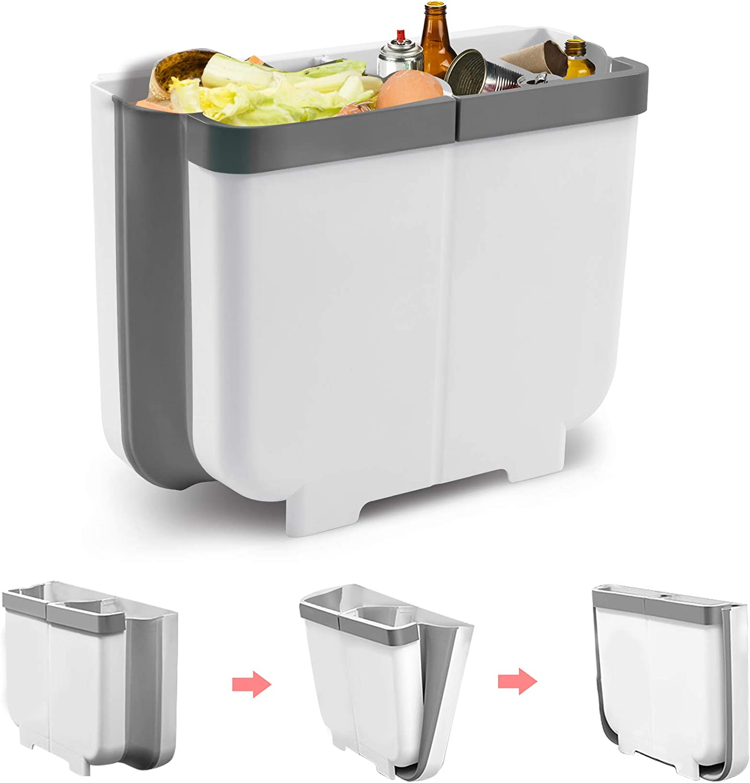 Gkodeamig Cubos de Basura Colgando, Cubo Basura Reciclaje, Bote de Basura Plegable 2 en 1 para Puerta de Armario de Cocina, Dormitorio, Baño (Gris, 13L)