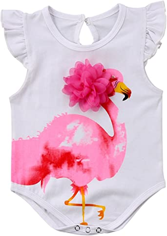 Flamingo in Love Newborn Baby Girl Boy Romper Jumpsuit Outfit Short Sleeve Bodysuit Tops Clothes