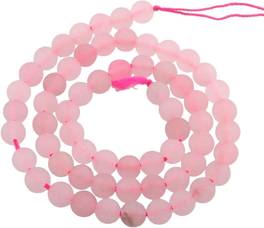 Perlin–45stk. Cuarzo Rosa, Rose Cuarzo Piedras Preciosas Perlas 8mm Frosted Rojo Redondo Piedra Joyas de Piedra Piedras Preciosas Perlas Gemstone Beads g768X3